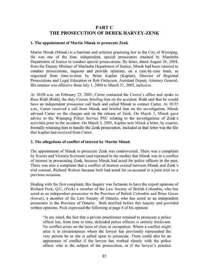 •Taman Inquiry into the Investigation and Prosecution of Derek Harvey-Zenk (Man.) Part B