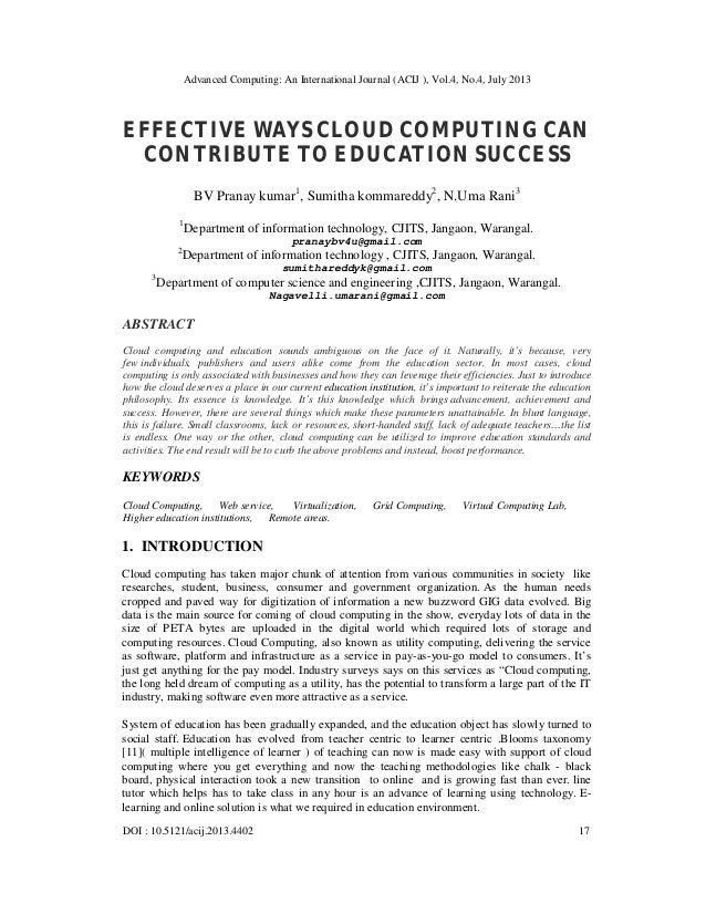 EFFECTIVE WAYS CLOUD COMPUTING CAN CONTRIBUTE TO EDUCATION SUCCESS