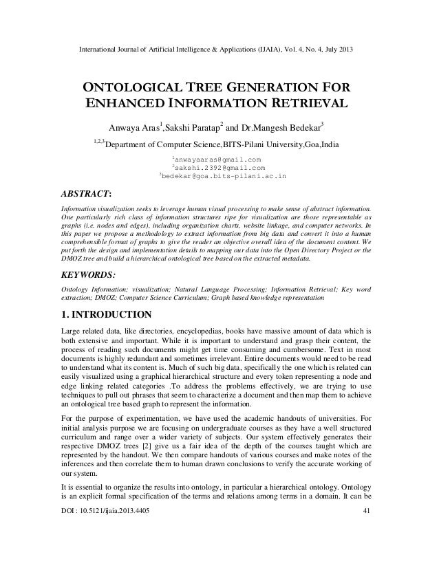 ONTOLOGICAL TREE GENERATION FOR ENHANCED INFORMATION RETRIEVAL