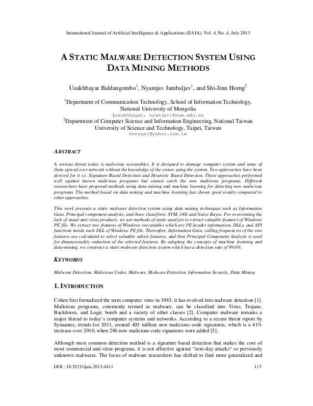International Journal of Artificial Intelligence & Applications (IJAIA), Vol. 4, No. 4, July 2013 DOI : 10.5121/ijaia.2013...