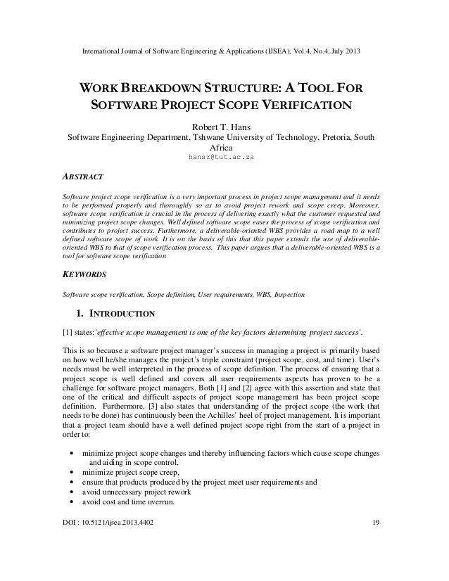 WORK BREAKDOWN STRUCTURE: A TOOL FOR SOFTWARE PROJECT SCOPE VERIFICATION