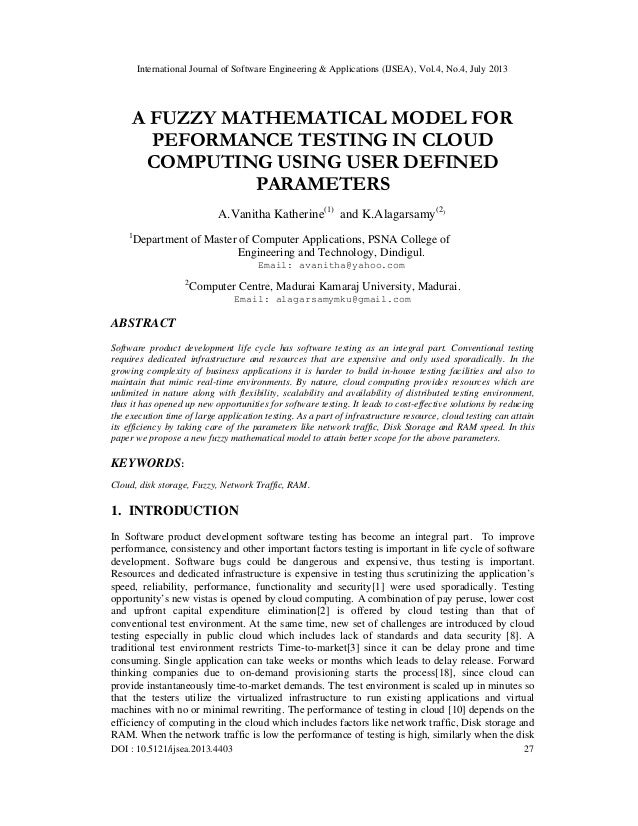 A FUZZY MATHEMATICAL MODEL FOR PEFORMANCE TESTING IN CLOUD COMPUTING USING USER DEFINED PARAMETERS