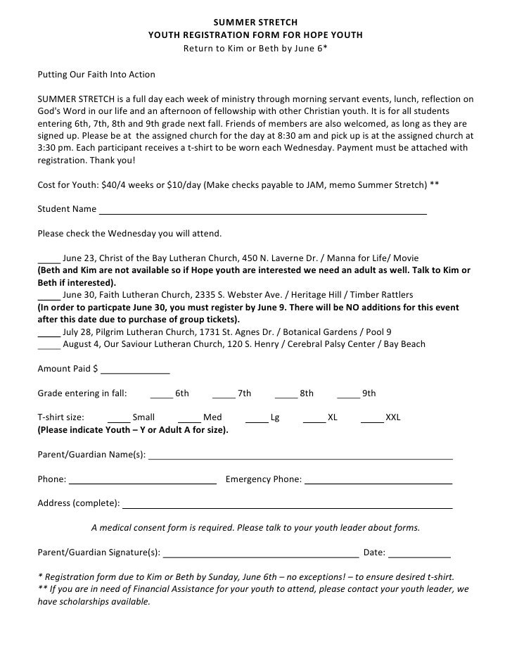 SUMMER STRETCH                            YOUTH REGISTRATION FORM FOR HOPE YOUTH                                  Return t...