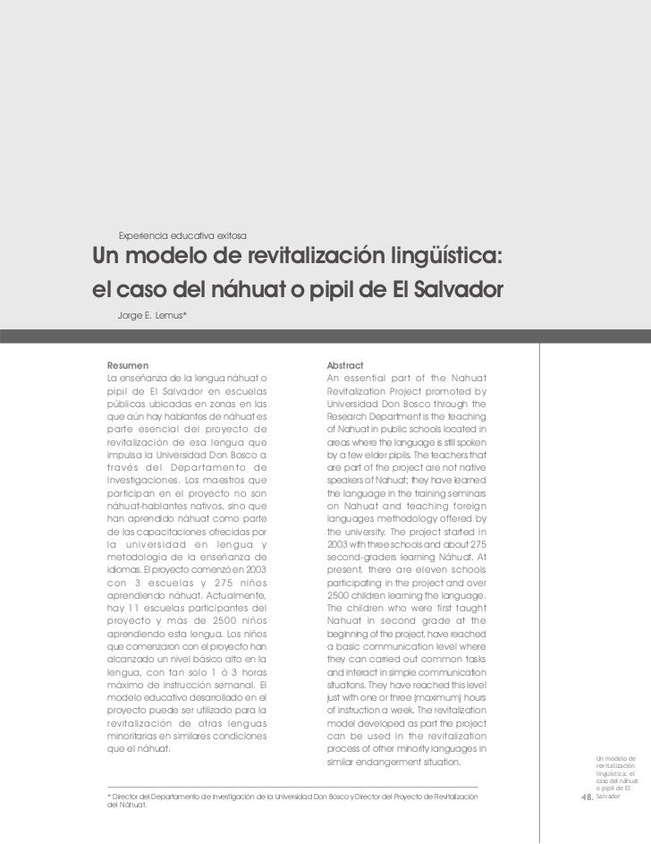 Experiencia educativa exitosaUn modelo de revitalización lingüística:el caso del náhuat o pipil de El Salvador    Jorge E....