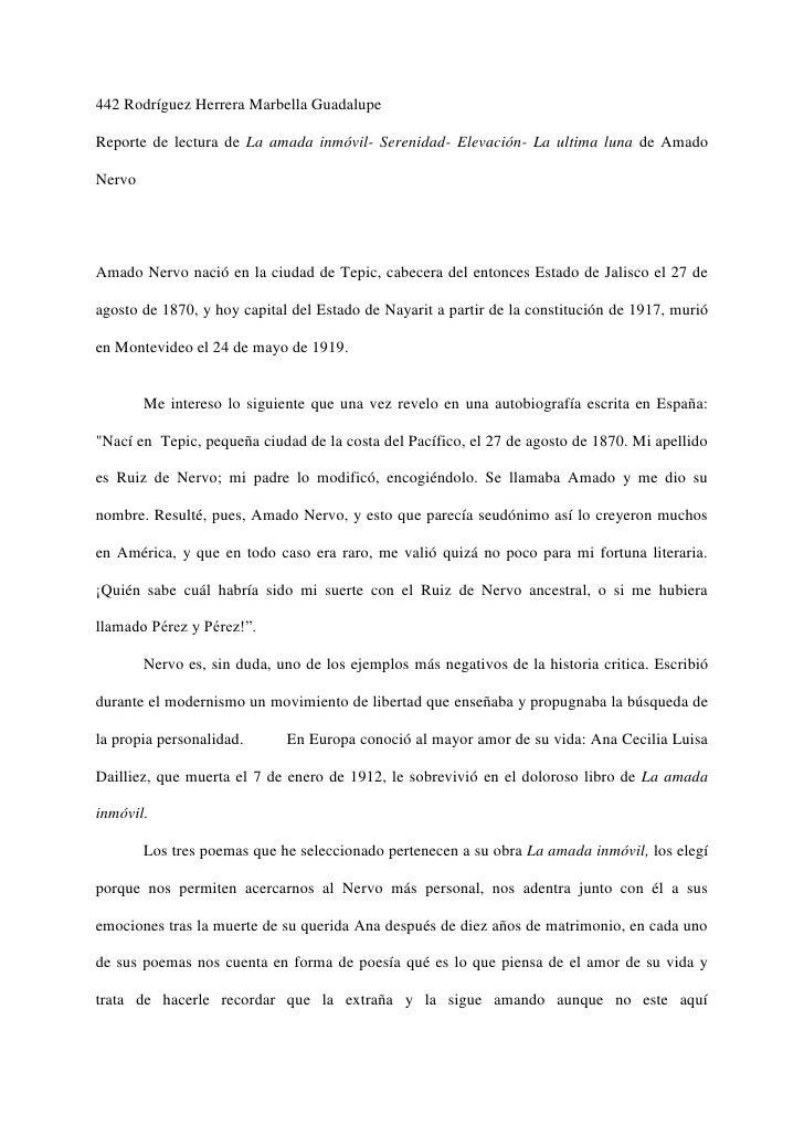 442 Rodríguez Herrera Marbella GuadalupeReporte de lectura de La amada inmóvil- Serenidad- Elevación- La ultima luna de Am...
