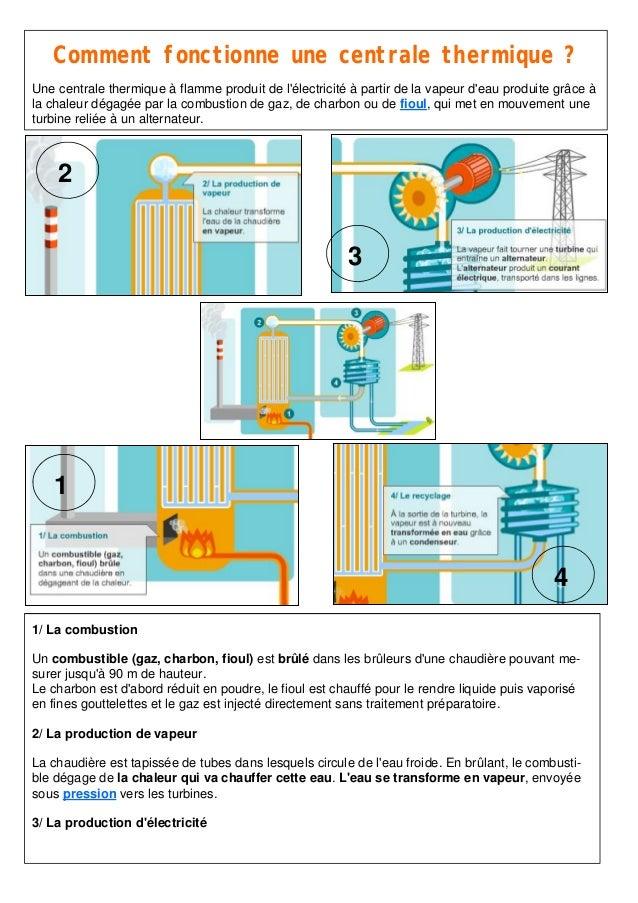 1 2 3 4 Comment fonctionne une centrale thermique ? Une centrale thermique à flamme produit de l'électricité à partir de l...