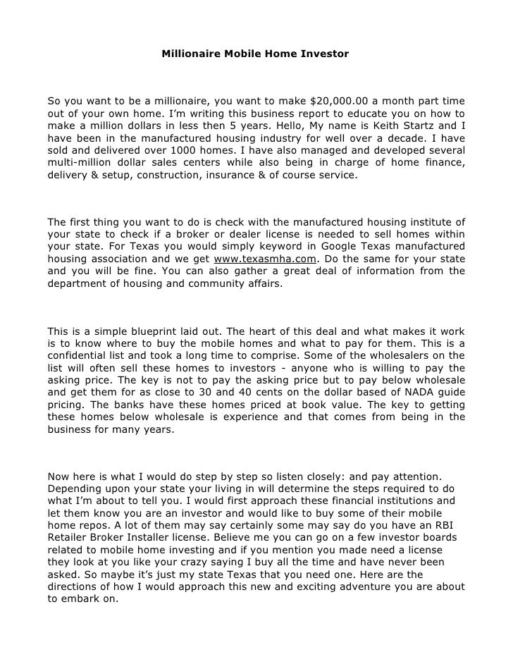 Millionaire mobile home investor