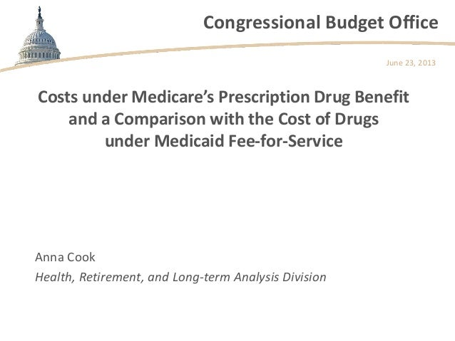 Congressional Budget Office Costs under Medicare's Prescription Drug Benefit and a Comparison with the Cost of Drugs under...