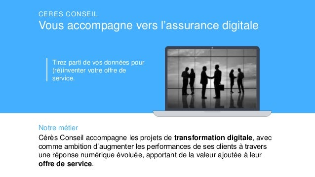 CERES CONSEIL Vous accompagne vers l'assurance digitale Cérès Conseil accompagne les projets de transformation digitale, a...