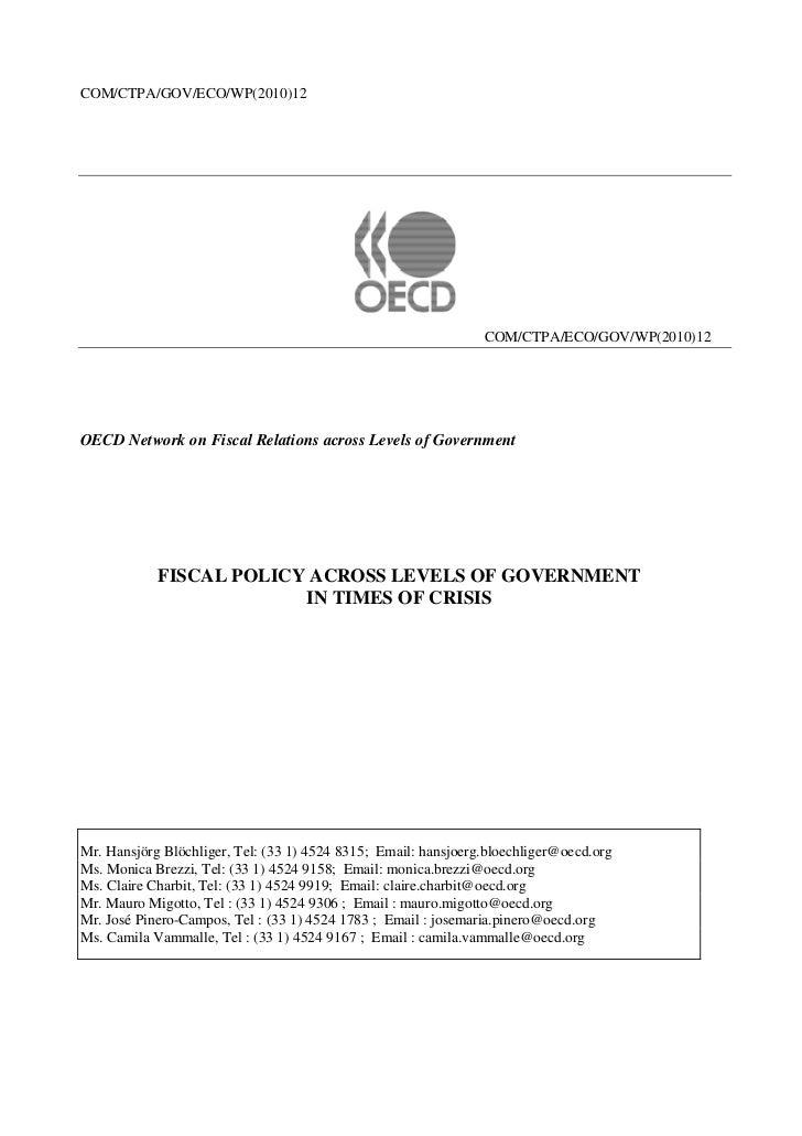 COM/CTPA/GOV/ECO/WP(2010)12                                                                COM/CTPA/ECO/GOV/WP(2010)12OECD...