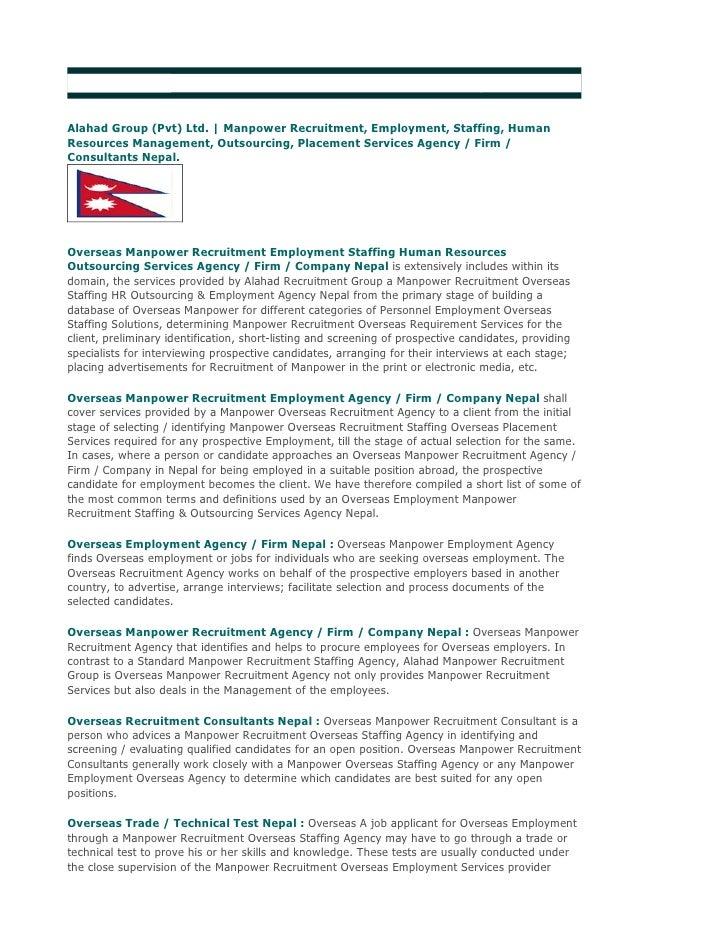 Alahad Group (Pvt) Ltd. | Overseas Employment Promoters Nepal  Alahad Group (Pvt) Ltd. | Manpower Recruitment, Employment,...