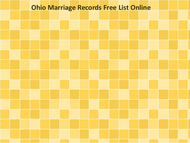 Ohio Marriage Records Free List Online
