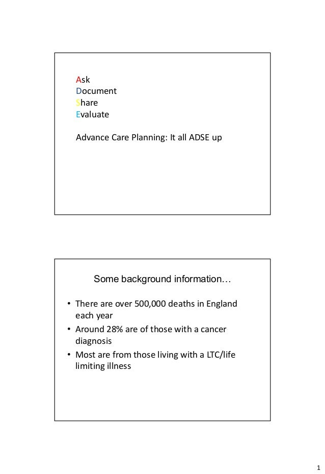 Ask  Document  Share  Evaluate  Advance Care Planning: It all ADSE up      Some background information…• There are over 50...