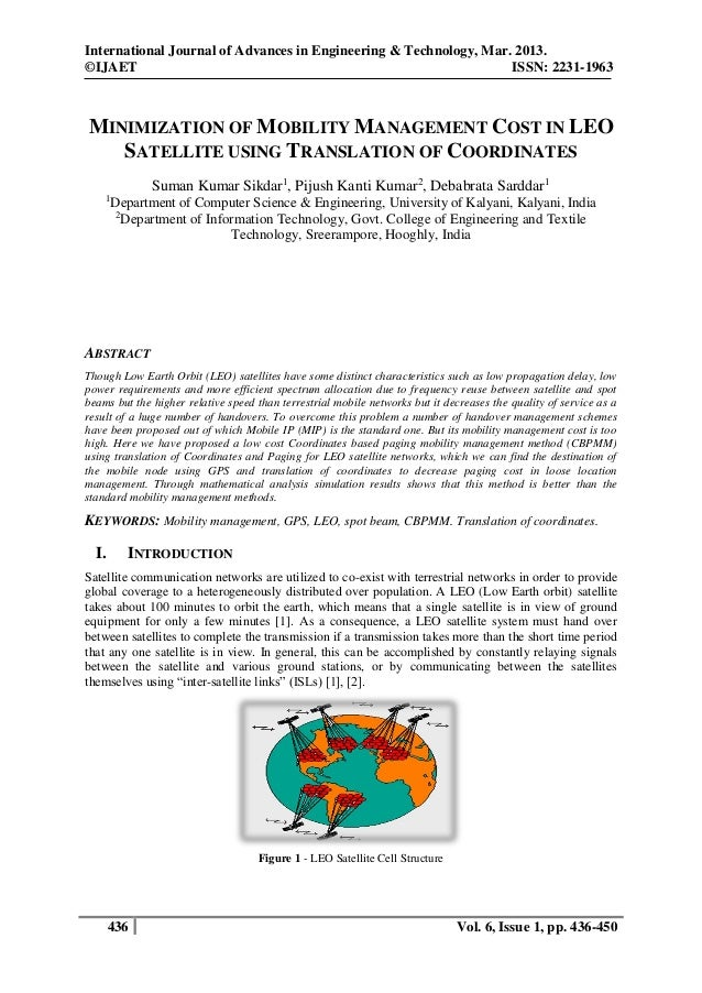 MINIMIZATION OF MOBILITY MANAGEMENT COST IN LEO SATELLITE USING TRANSLATION OF COORDINATES