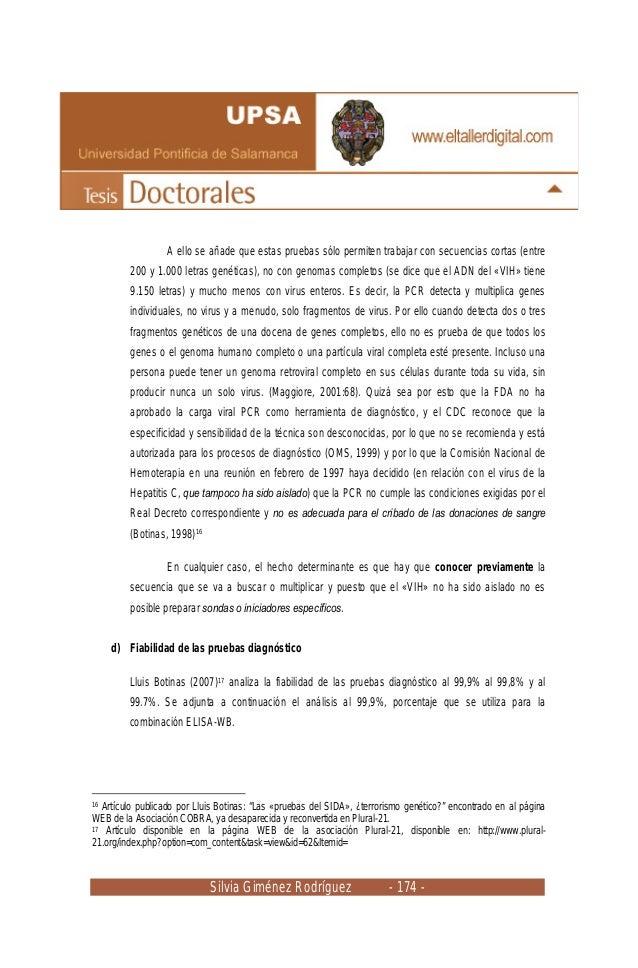 Silvia Giménez Rodríguez - 174 - A ello se añade que estas pruebas sólo permiten trabajar con secuencias cortas (entre 200...