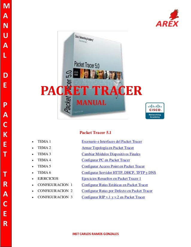 M A N U A L D E P A C K E T  Packet Tracer 5.1 TEMA 1  Escenario e Interfaces del Packet Tracer    TEMA 2  Armar Topologí...
