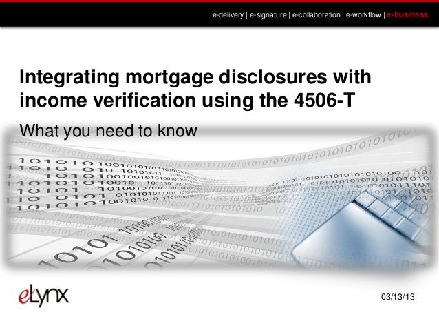 Integrating  Mortgage Disclosures With Income Verification