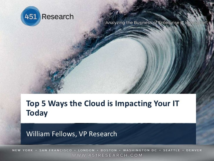Top 5 Ways the Cloud is Impacting Your ITTodayWilliam Fellows, VP Research