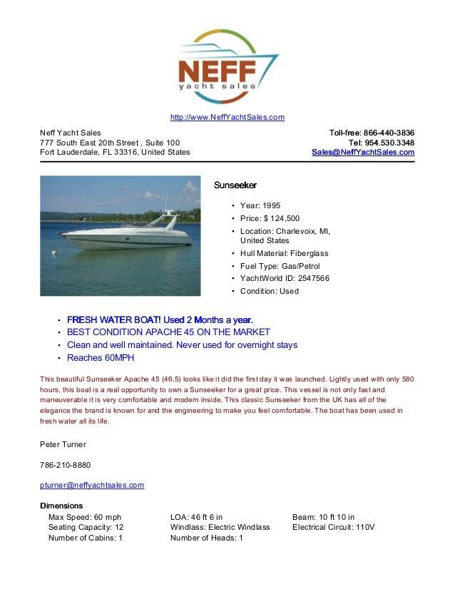 45' 1995 sunseeker apache for sale   neff yacht sales