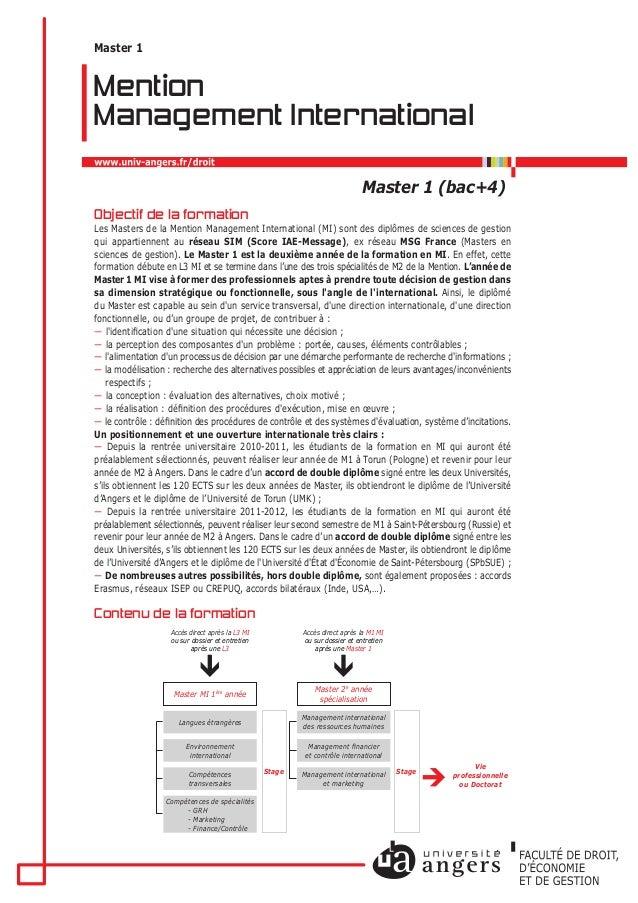 Master 1 (bac+4) Mention Management International Master 1 Objectif de la formation Les Masters de la Mention Management I...