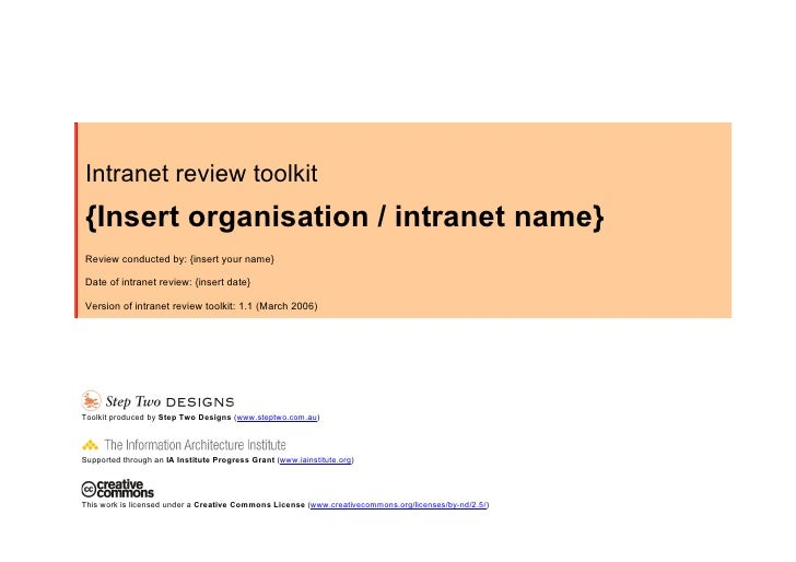 Intranet review toolkit {Insert organisation / intranet name} Review conducted by: {insert your name}  Date of intranet re...