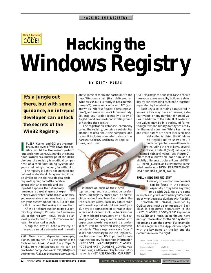 HACKING THE REGISTRY      Click & Retrieve       Source       CODE!                                       Hacking the Wind...