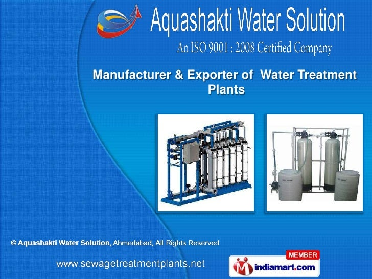 Manufacturer & Exporter of Water Treatment                  Plants