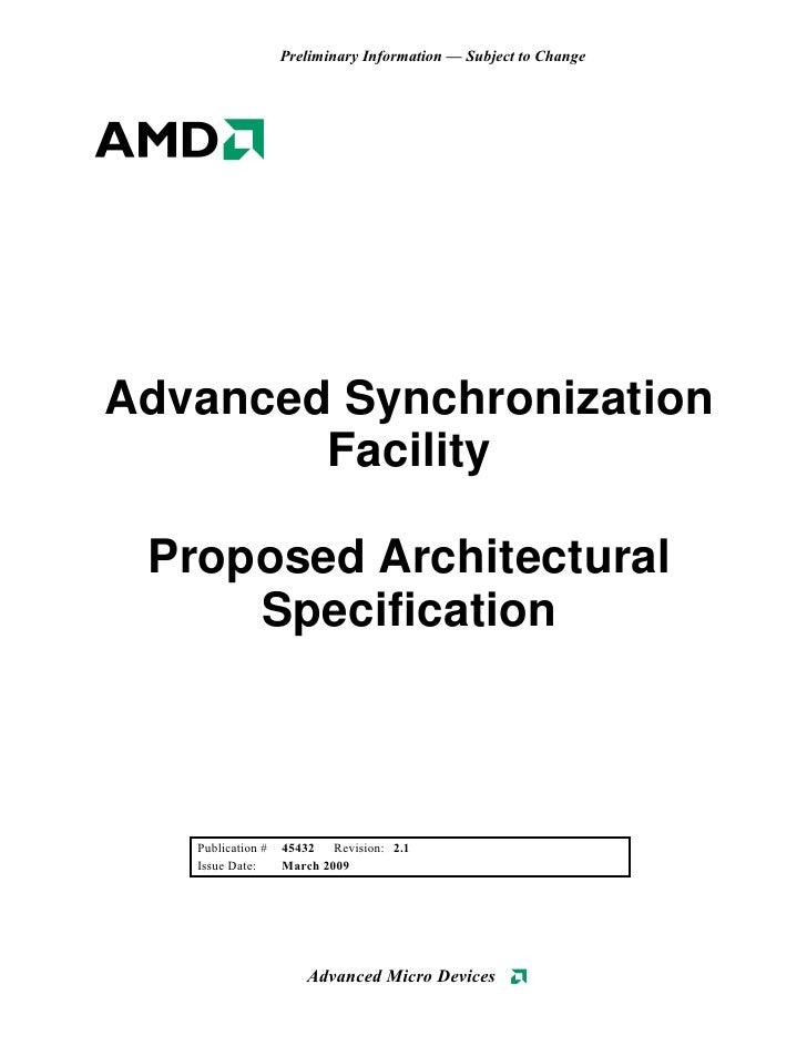 """AMD """"Advanced Synchronization Facility"""" Proposal"""