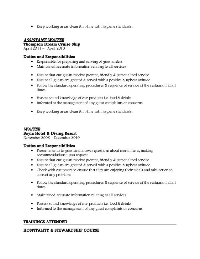 description for waitress on resume