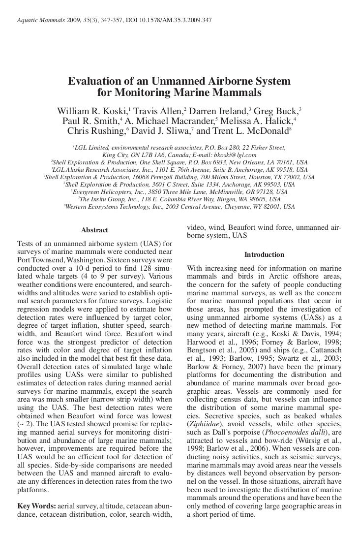 Evaluation of an Unmanned Airborne System   for Monitoring Marine Mammals