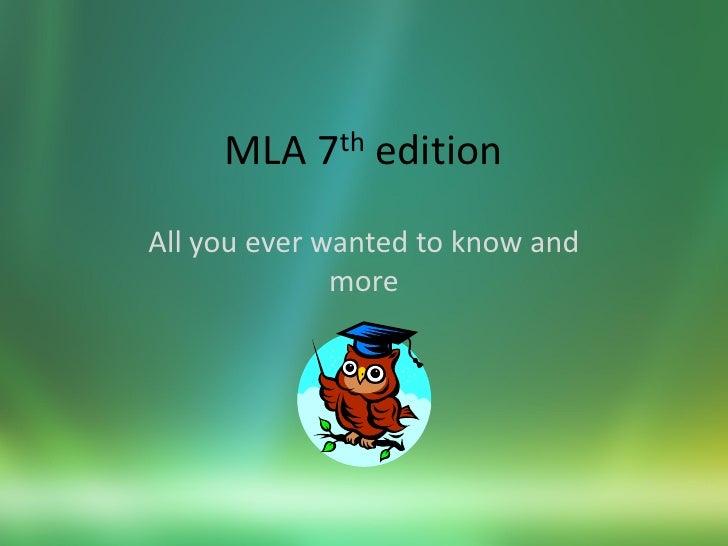 MLA 7th edition