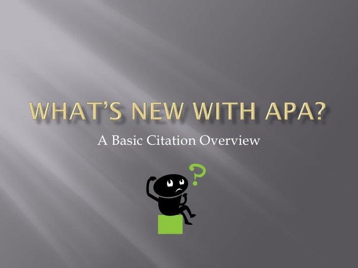 A Basic Citation Overview