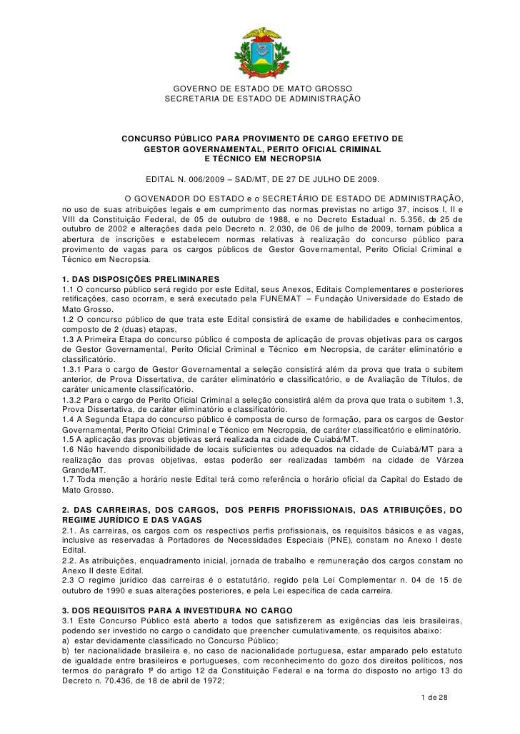 GOVERNO DE ESTADO DE MATO GROSSO                           SECRETARIA DE ESTADO DE ADMINISTRAÇÃO                   CONCURS...
