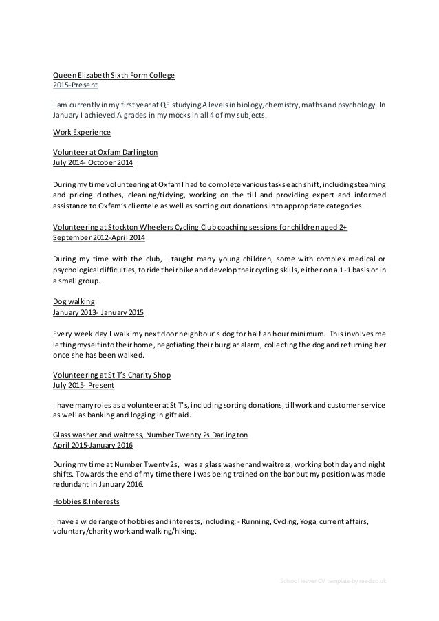 curriculum vitae for school leavers 28 images school leavers