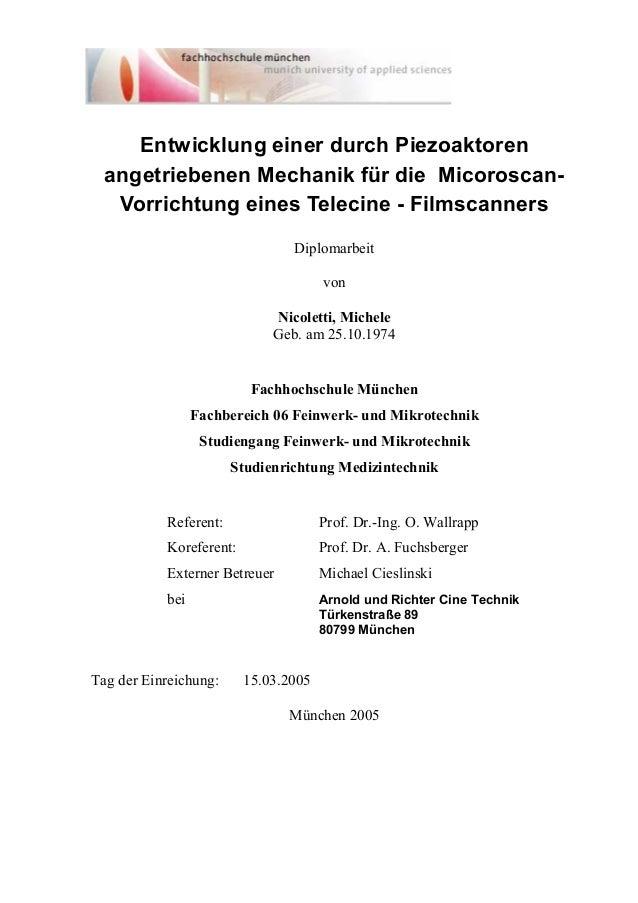 Entwicklung einer durch Piezoaktoren angetriebenen Mechanik für die Micoroscan- Vorrichtung eines Telecine - Filmscanners ...