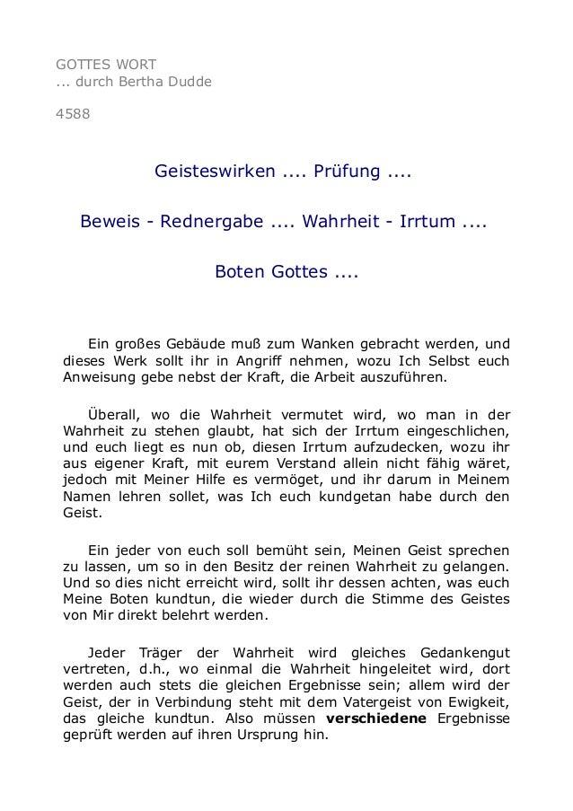 GOTTES WORT ... durch Bertha Dudde 4588 Geisteswirken .... Prüfung .... Beweis - Rednergabe .... Wahrheit - Irrtum .... Bo...