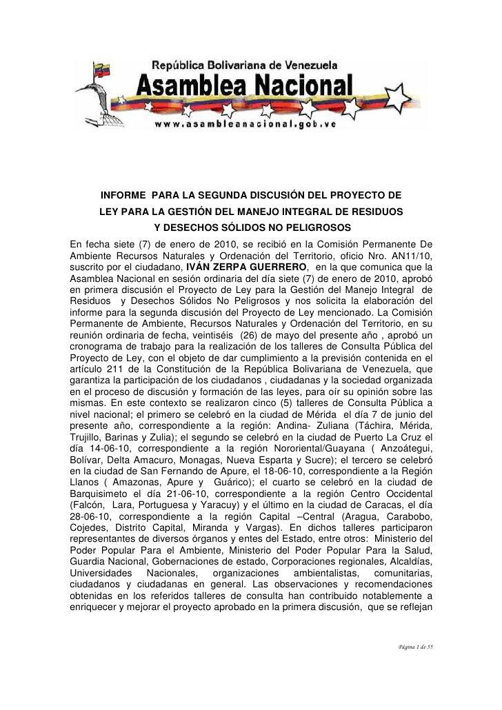INFORME PARA LA SEGUNDA DISCUSIÓN DEL PROYECTO DE      LEY PARA LA GESTIÓN DEL MANEJO INTEGRAL DE RESIDUOS                ...