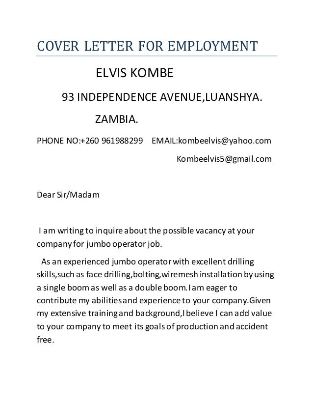cover letter employment gap - Sample Of Cover Letter Zambia Visa
