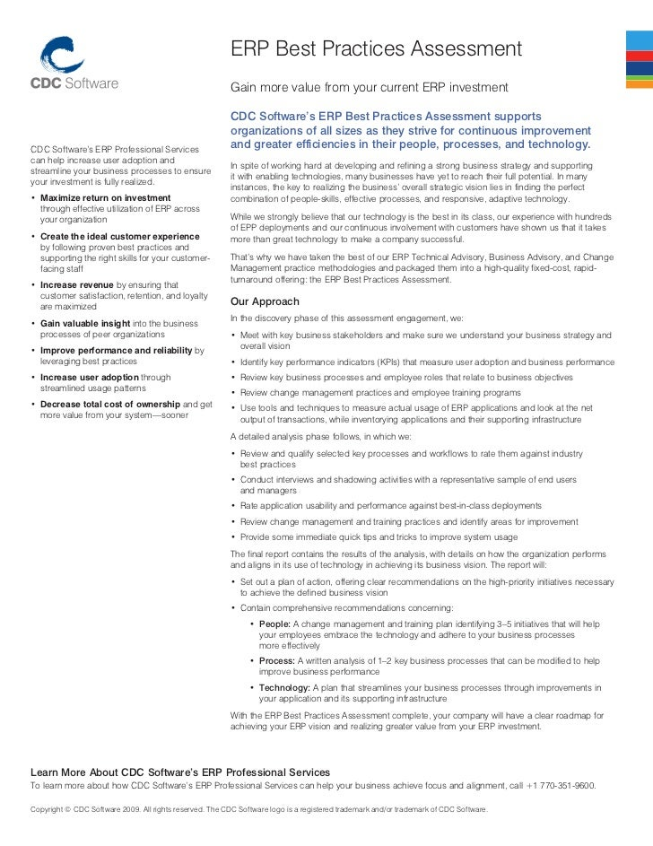 Best practices assessment