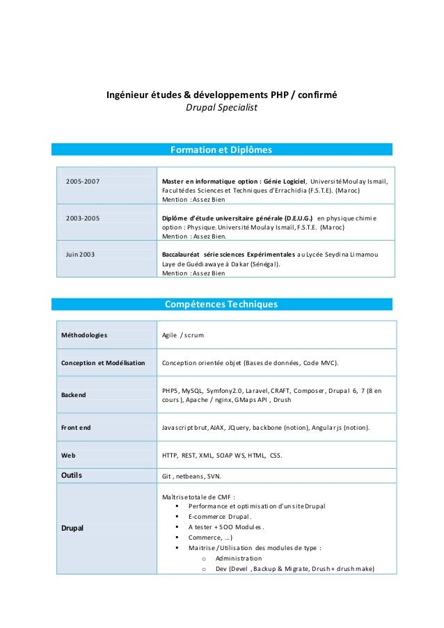 Ingénieur études & développements PHP / confirmé Drupal Specialist Formation et Diplômes 2005-2007 Master en informatique ...