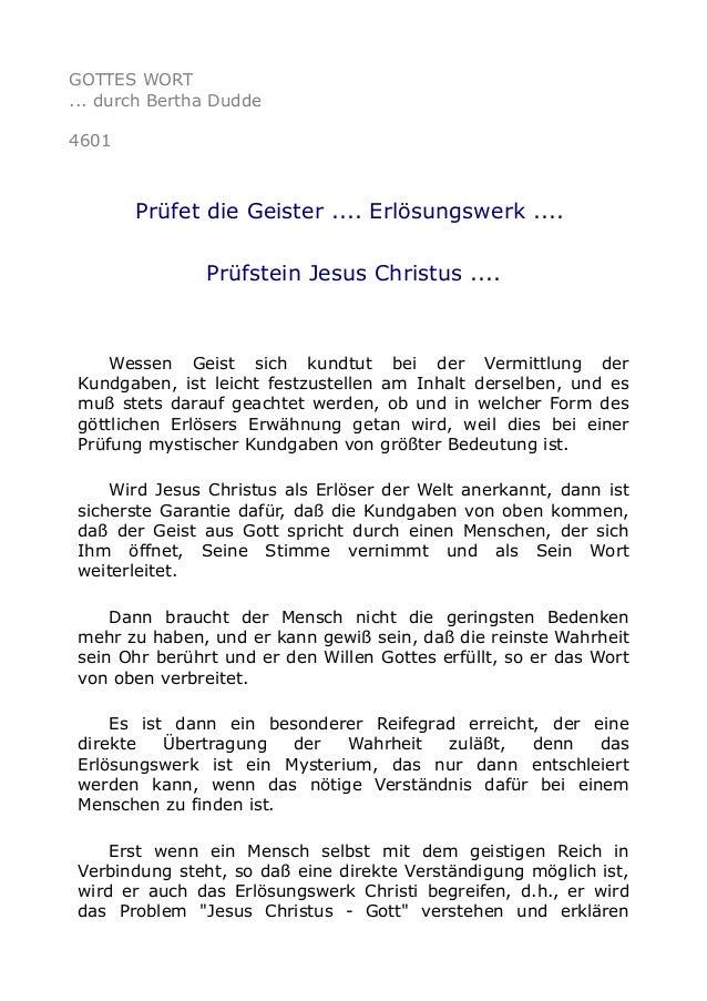 GOTTES WORT ... durch Bertha Dudde 4601 Prüfet die Geister .... Erlösungswerk .... Prüfstein Jesus Christus .... Wessen Ge...