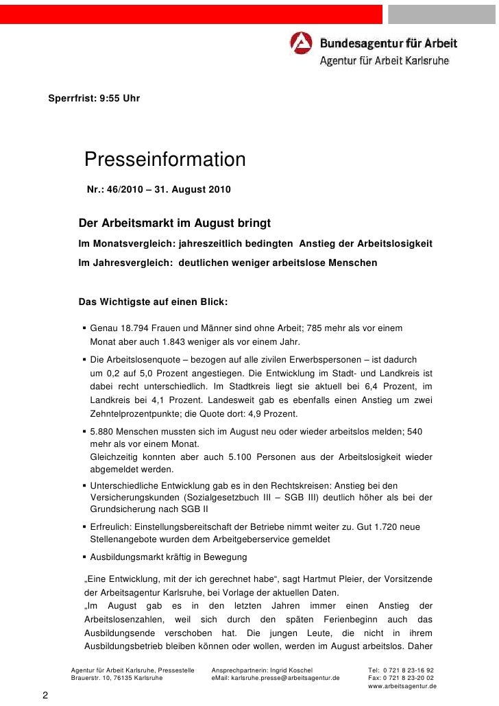 Sperrfrist: 9:55 Uhr            Presseinformation             Nr.: 46/2010 – 31. August 2010          Der Arbeitsmarkt im ...
