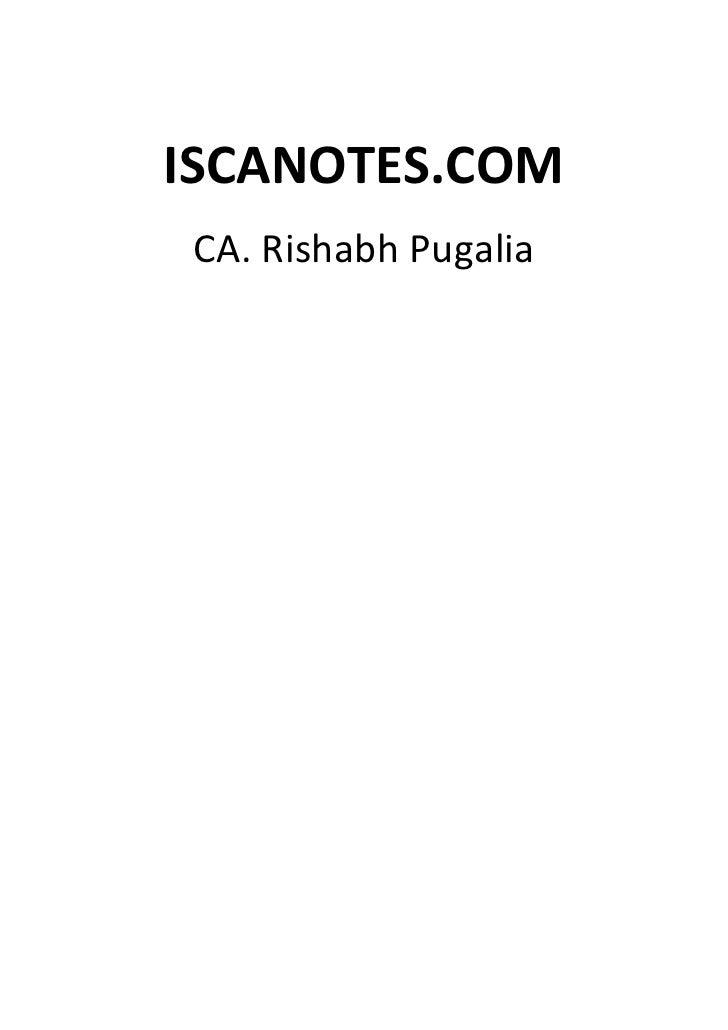 ISCANOTES.COMCA. Rishabh Pugalia