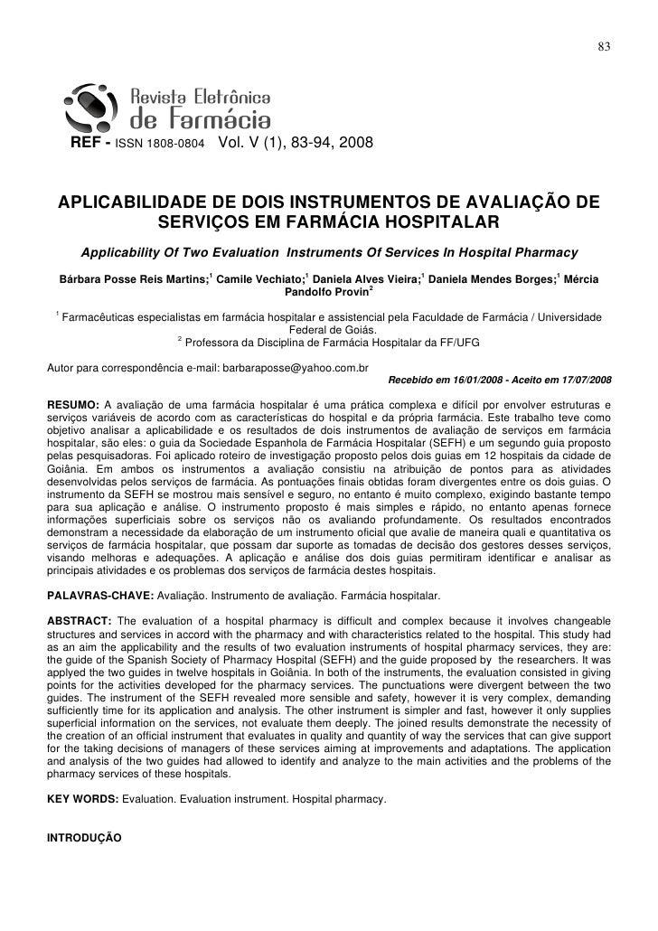 83      REF - ISSN 1808-0804 Vol. V (1), 83-94, 2008  APLICABILIDADE DE DOIS INSTRUMENTOS DE AVALIAÇÃO DE            SERVI...