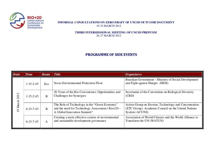 March Informals and Third Intersessional programme of side events