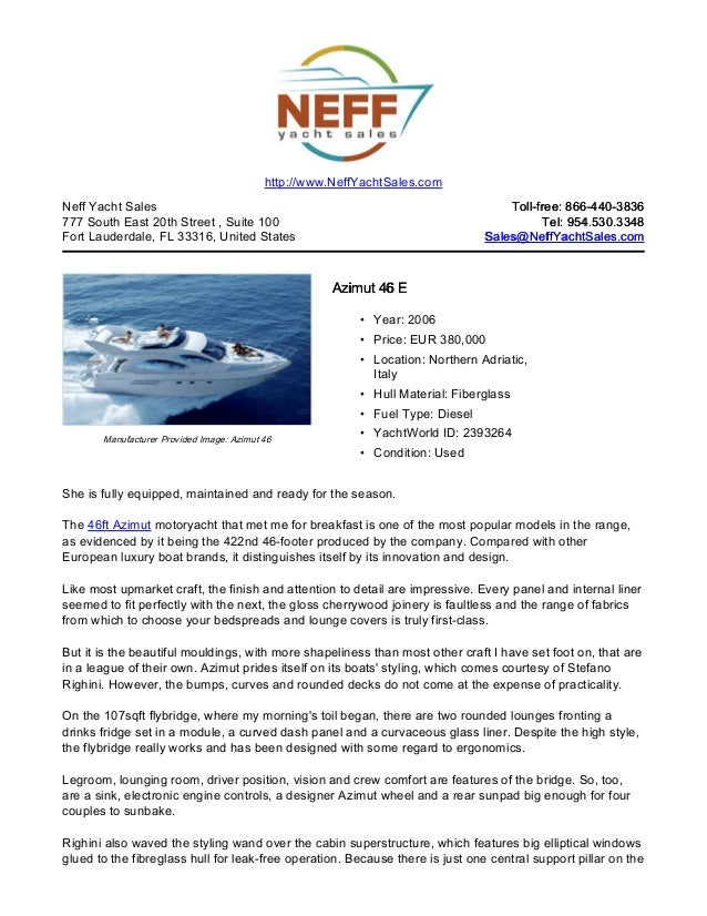 46' 2006 azimut 46 e yacht for sale   neff yacht sales