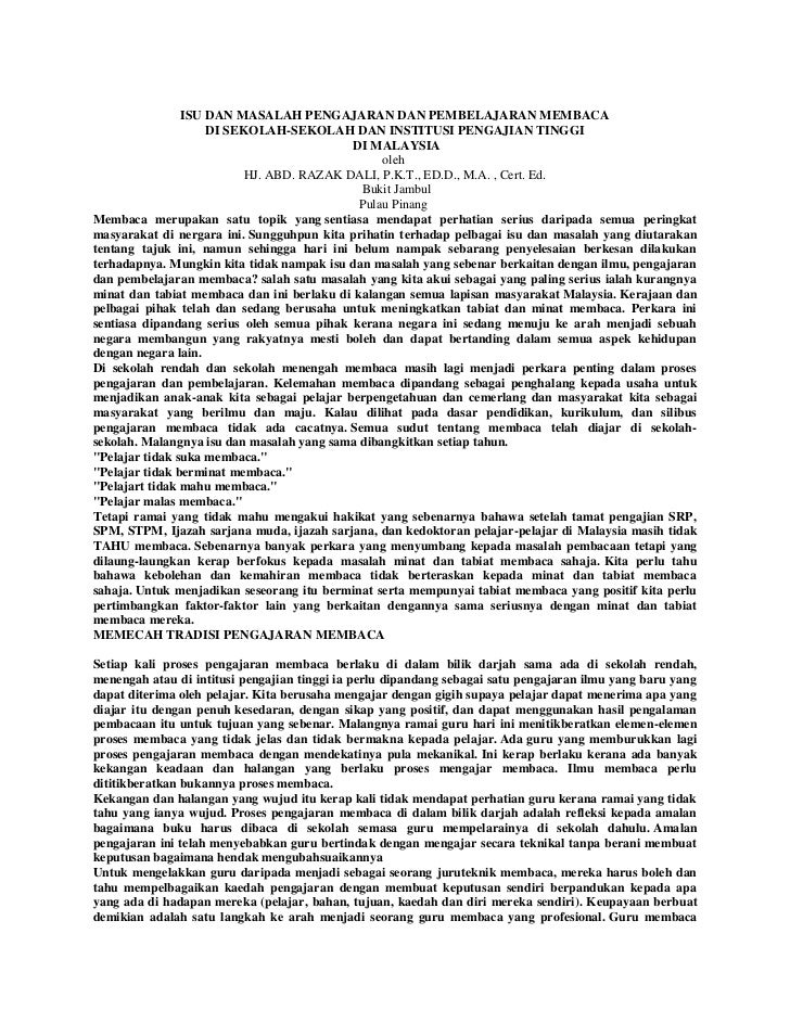 46260933 isu-dan-masalah-pengajaran-dan-pembelajaran-membaca