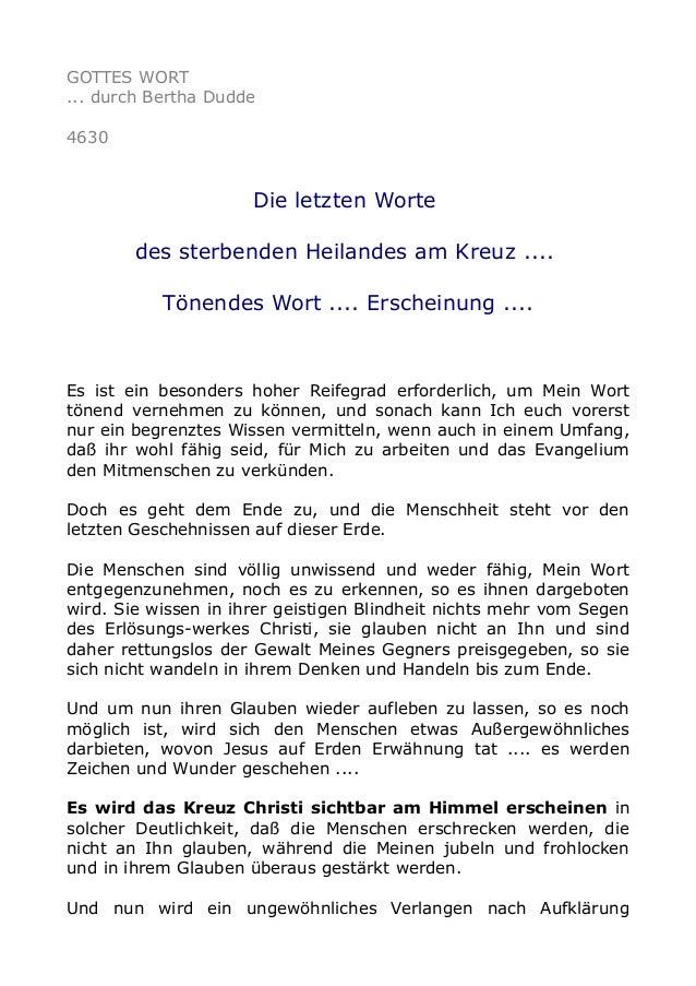 GOTTES WORT ... durch Bertha Dudde 4630 Die letzten Worte des sterbenden Heilandes am Kreuz .... Tönendes Wort .... Ersche...