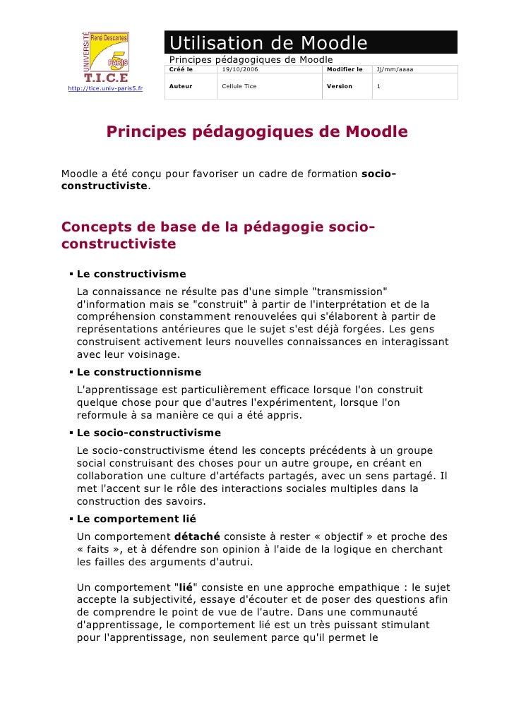 Utilisation de Moodle                               Principes pédagogiques de Moodle                               Créé le...