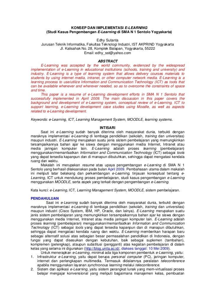 KONSEP DAN IMPLEMENTASI E-LEARNING            (Studi Kasus Pengembangan E-Learning di SMA N 1 Sentolo Yogyakarta)         ...